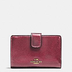 COACH F54010 Medium Corner Zip Wallet In Crossgrain Leather IMITATION GOLD/METALLIC CHERRY