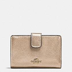 COACH F54010 Medium Corner Zip Wallet In Crossgrain Leather IMITATION GOLD/PLATINUM