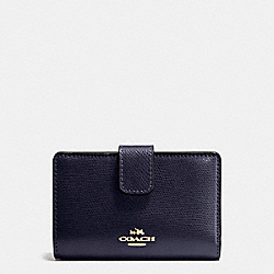 COACH F54010 Medium Corner Zip Wallet In Crossgrain Leather IMITATION GOLD/MIDNIGHT