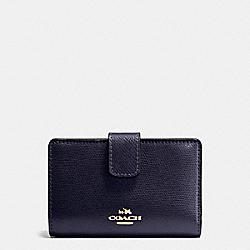 COACH F54010 Medium Corner Zip Wallet In Crossgrain Leather IMITATION GOLD/MIDNIGHT