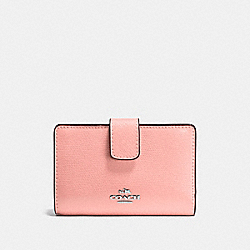 COACH F54010 - MEDIUM CORNER ZIP WALLET IN CROSSGRAIN LEATHER SILVER/BLUSH