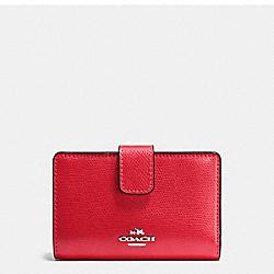 COACH F54010 Medium Corner Zip Wallet In Crossgrain Leather SILVER/BRIGHT RED