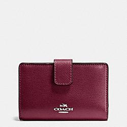 COACH F54010 Medium Corner Zip Wallet In Crossgrain Leather SILVER/BURGUNDY