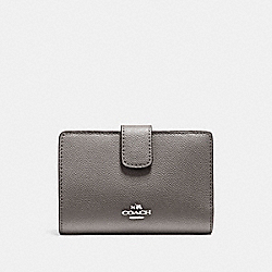 COACH F54010 - MEDIUM CORNER ZIP WALLET IN CROSSGRAIN LEATHER SILVER/HEATHER GREY