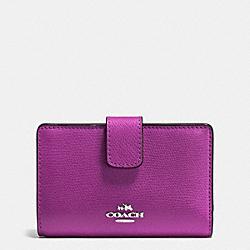 COACH F54010 Medium Corner Zip Wallet In Crossgrain Leather SILVER/HYACINTH