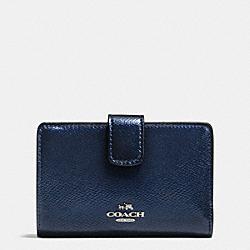 COACH F54010 Medium Corner Zip Wallet In Crossgrain Leather SILVER/METALLIC MIDNIGHT