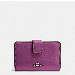 COACH F54010 - MEDIUM CORNER ZIP WALLET IN CROSSGRAIN LEATHER SILVER/MAUVE