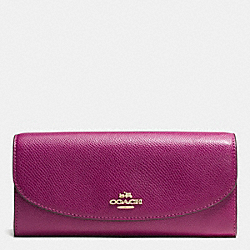 COACH F54012 Slim Envelope Wallet In Field Flora Print Coated Canvas IMITATION GOLD/FUCHSIA MULTI