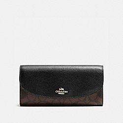 SLIM ENVELOPE WALLET IN SIGNATURE - f54022 - IMITATION GOLD/BROWN/BLACK