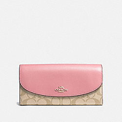 COACH F54022 Slim Envelope Wallet In Signature Canvas LIGHT KHAKI/PEONY/LIGHT GOLD