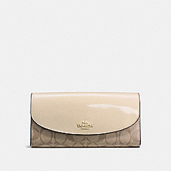 COACH F54022 Slim Envelope Wallet In Signature IMITATION GOLD/KHAKI PLATINUM
