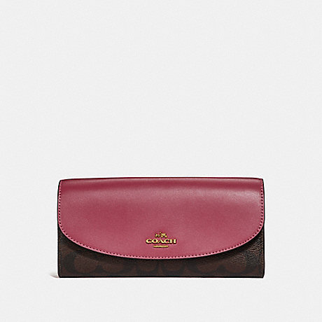 COACH f54022 SLIM ENVELOPE WALLET LIGHT GOLD/BROWN ROUGE