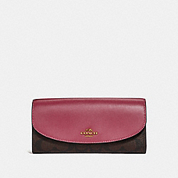 COACH SLIM ENVELOPE WALLET - LIGHT GOLD/BROWN ROUGE - F54022