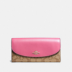 COACH F54022 Slim Envelope Wallet In Signature Canvas KHAKI/PINK RUBY/GOLD