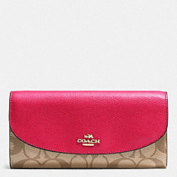 COACH F54022 Slim Envelope Wallet In Signature IMITATION GOLD/KHAKI BRIGHT PINK