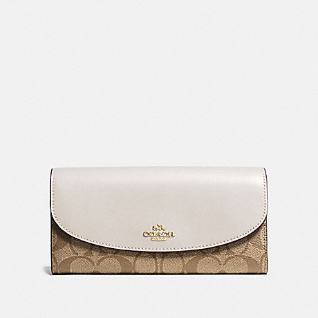 COACH F54022 SLIM ENVELOPE WALLET IN SIGNATURE CANVAS KHAKI/CHALK/GOLD