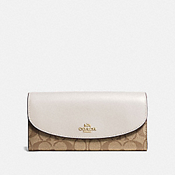 SLIM ENVELOPE WALLET IN SIGNATURE CANVAS - F54022 - KHAKI/CHALK/GOLD