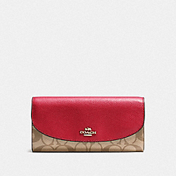 COACH F54022 Slim Envelope Wallet In Signature Canvas KHAKI/TRUE RED/GOLD