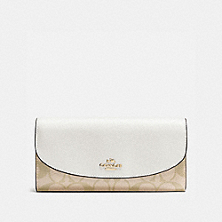 SLIM ENVELOPE WALLET IN SIGNATURE - f54022 - IMITATION GOLD/LIGHT KHAKI/CHALK