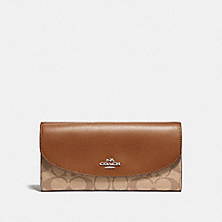 COACH SLIM ENVELOPE WALLET IN SIGNATURE CANVAS - KHAKI/SADDLE 2/LIGHT GOLD - F54022
