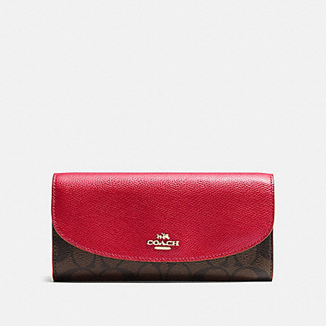 COACH f54022 SLIM ENVELOPE WALLET IN SIGNATURE IMITATION GOLD/BROWN TRUE RED