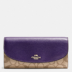 COACH F54022 Slim Envelope Wallet In Signature IMITATION GOLD/KHAKI AUBERGINE