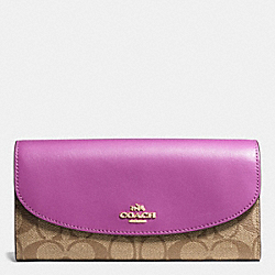 COACH F54022 Slim Envelope Wallet In Signature IMITATION GOLD/KHAKI/HYACINTH