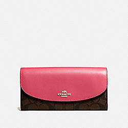 COACH F54022 Slim Envelope Wallet In Signature Canvas BROWN/STRAWBERRY/IMITATION GOLD