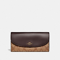 COACH SLIM ENVELOPE WALLET IN SIGNATURE COATED CANVAS - LIGHT GOLD/KHAKI - F54022