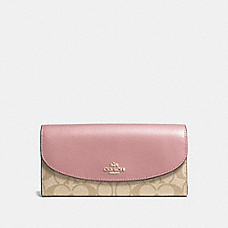 SLIM ENVELOPE WALLET IN SIGNATURE CANVAS - f54022 - light khaki/vintage pink/imitation gold