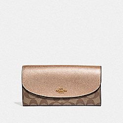 COACH F54022 Slim Envelope Wallet In Signature Canvas KHAKI/ROSE GOLD/LIGHT GOLD