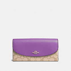 COACH F54022 Slim Envelope Wallet In Signature Canvas LIGHT KHAKI/PRIMROSE/IMITATION GOLD