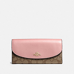COACH F54022 Slim Envelope Wallet In Signature Canvas IM/KHAKI PINK PETAL