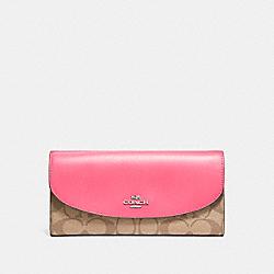 COACH F54022 Slim Envelope Wallet SILVER/KHAKI/MAGENTA