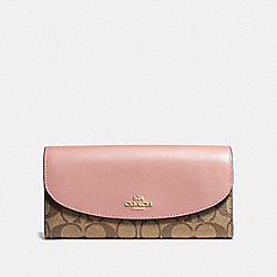 COACH F54022 Slim Envelope Wallet In Signature Canvas KHAKI/PETAL/SILVER