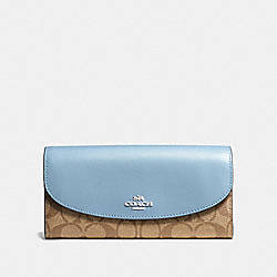 SLIM ENVELOPE WALLET IN SIGNATURE CANVAS - F54022 - KHAKI/CORNFLOWER/SILVER