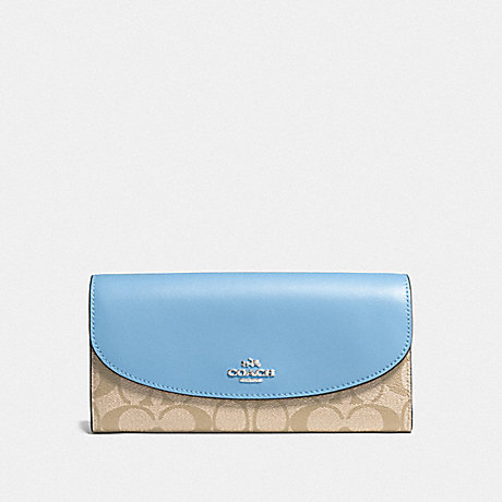 COACH f54022 SLIM ENVELOPE WALLET IN SIGNATURE COATED CANVAS SILVER/LIGHT KHAKI