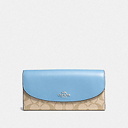 SLIM ENVELOPE WALLET IN SIGNATURE COATED CANVAS - f54022 - SILVER/LIGHT KHAKI