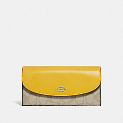 COACH F54022 Slim Envelope Wallet LIGHT KHAKI/CANARY/SILVER