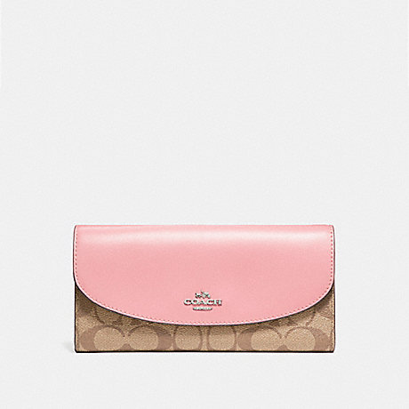 COACH f54022 SLIM ENVELOPE WALLET SILVER/KHAKI BLUSH 2