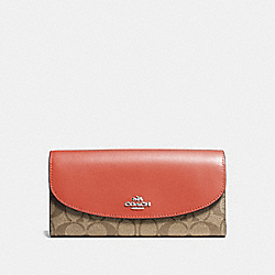 COACH F54022 Slim Envelope Wallet KHAKI/ORANGE RED/SILVER