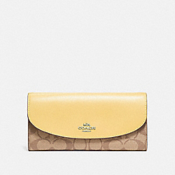 COACH F54022 Slim Envelope Wallet In Signature Canvas KHAKI/VANILLA/SILVER