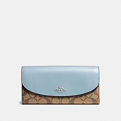 COACH F54022 Slim Envelope Wallet In Signature Canvas KHAKI/PALE BLUE/SILVER