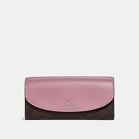 COACH f54022 SLIM ENVELOPE WALLET IN SIGNATURE CANVAS brown/dusty rose/silver
