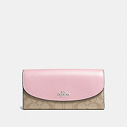 COACH F54022 - SLIM ENVELOPE WALLET IN SIGNATURE CANVAS LIGHT KHAKI/CARNATION/SILVER