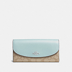 COACH F54022 - SLIM ENVELOPE WALLET IN SIGNATURE CANVAS LIGHT KHAKI/SEAFOAM/SILVER
