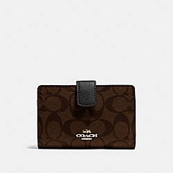 COACH F54023 Medium Corner Zip Wallet In Signature IMITATION GOLD/BROWN/BLACK