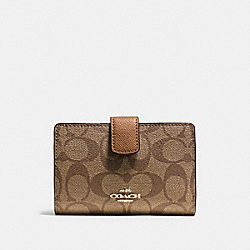 COACH F54023 Medium Corner Zip Wallet In Signature IMITATION GOLD/KHAKI/SADDLE