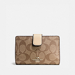 COACH F54023 Medium Corner Zip Wallet In Signature IMITATION GOLD/KHAKI PLATINUM