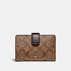 COACH F54023 Medium Corner Zip Wallet In Signature LIGHT GOLD/KHAKI